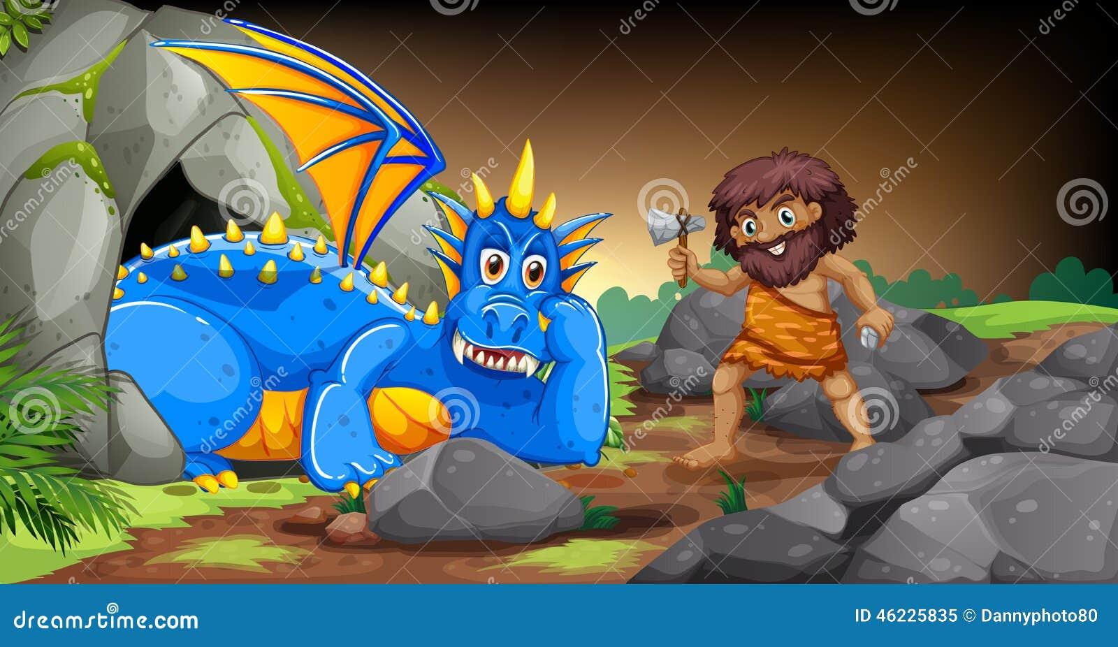 Caveman και δράκος