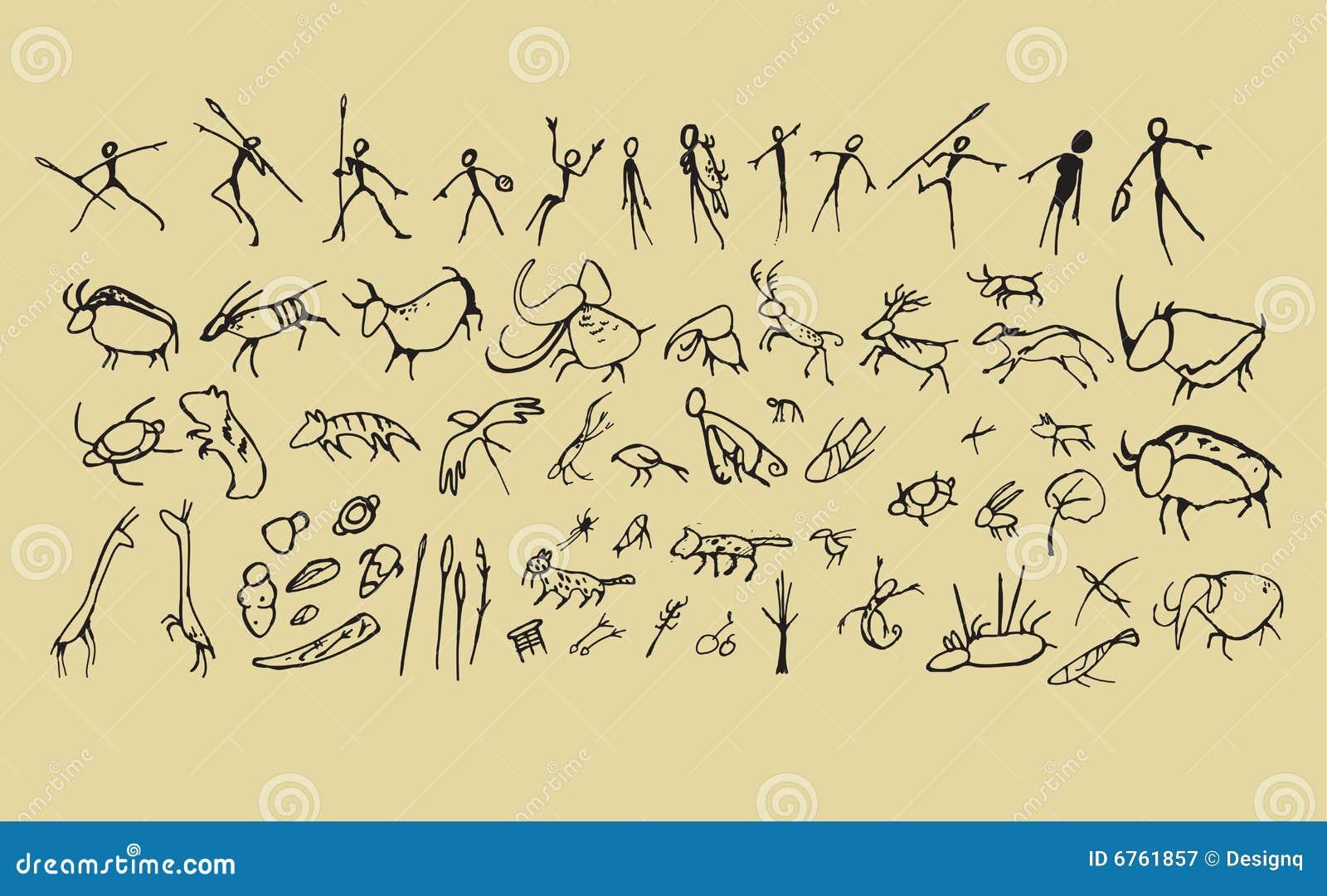 Caveman Art : Caveman art stock vector image of prehistoric graffiti