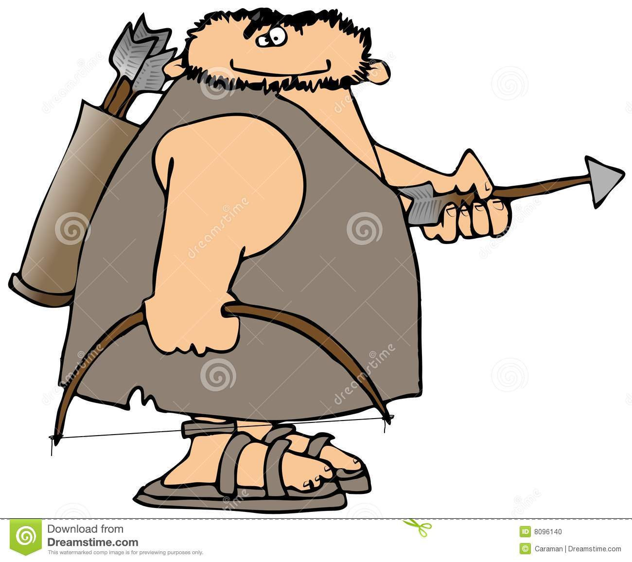 Caveman Unibrow : Caveman with bow and arrow stock photo image