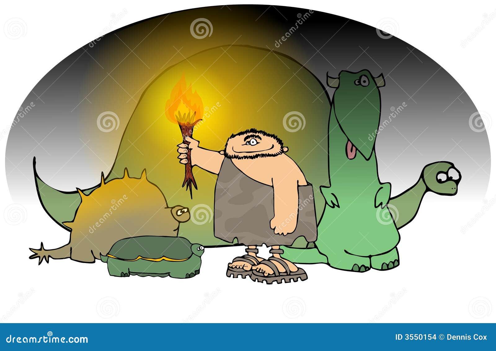 Caveman con una torcia e un Dinos
