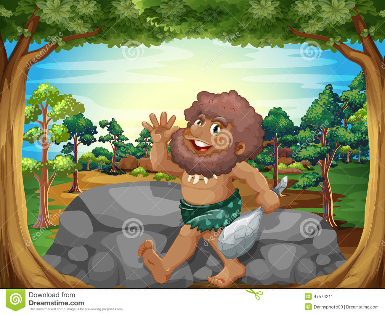 Caveman Rocks : A caveman at the jungle stock vector image