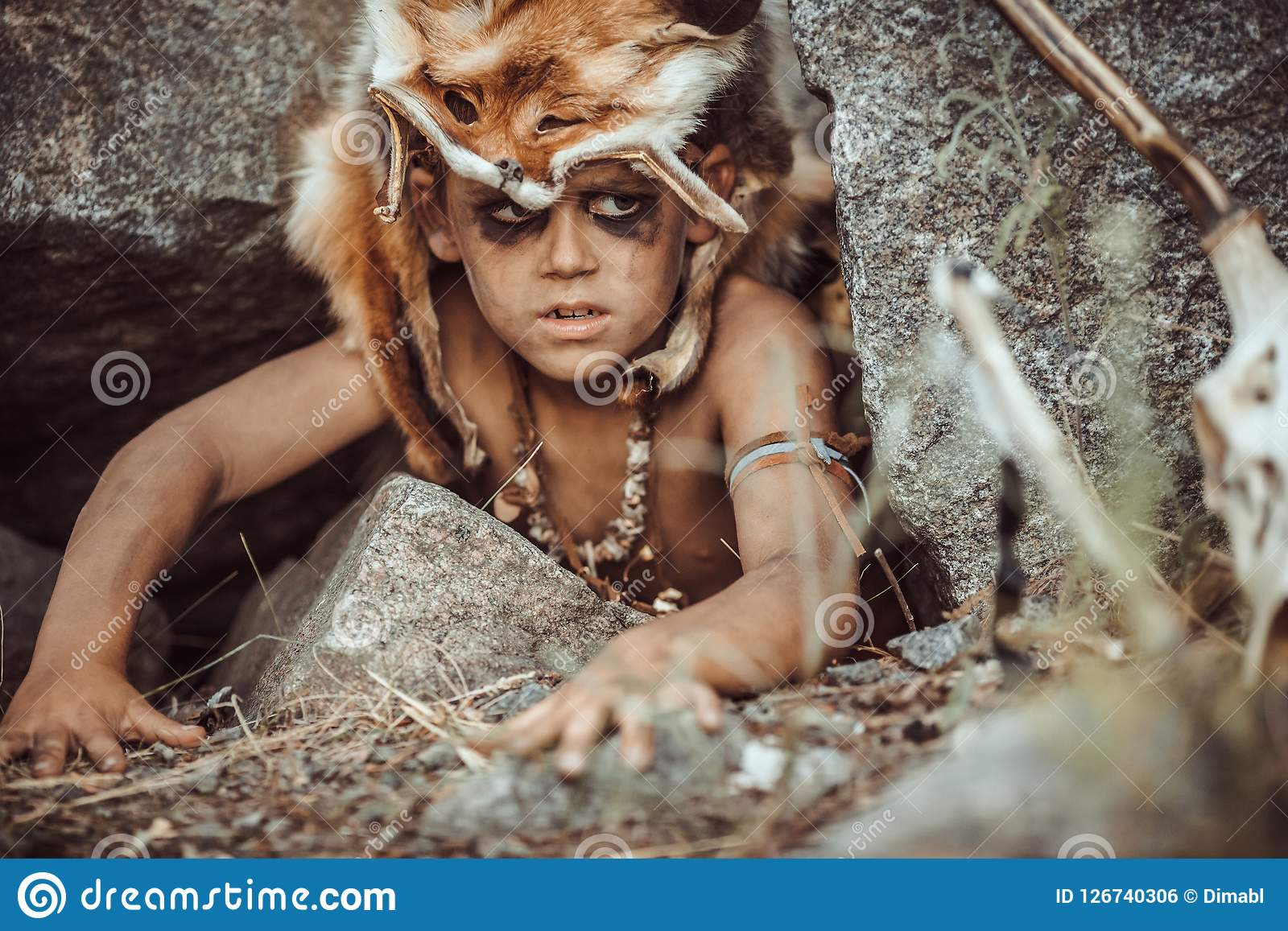 Caveman Manly Boy Hunting Outdoors Ancient Warrior Portrait Stock
