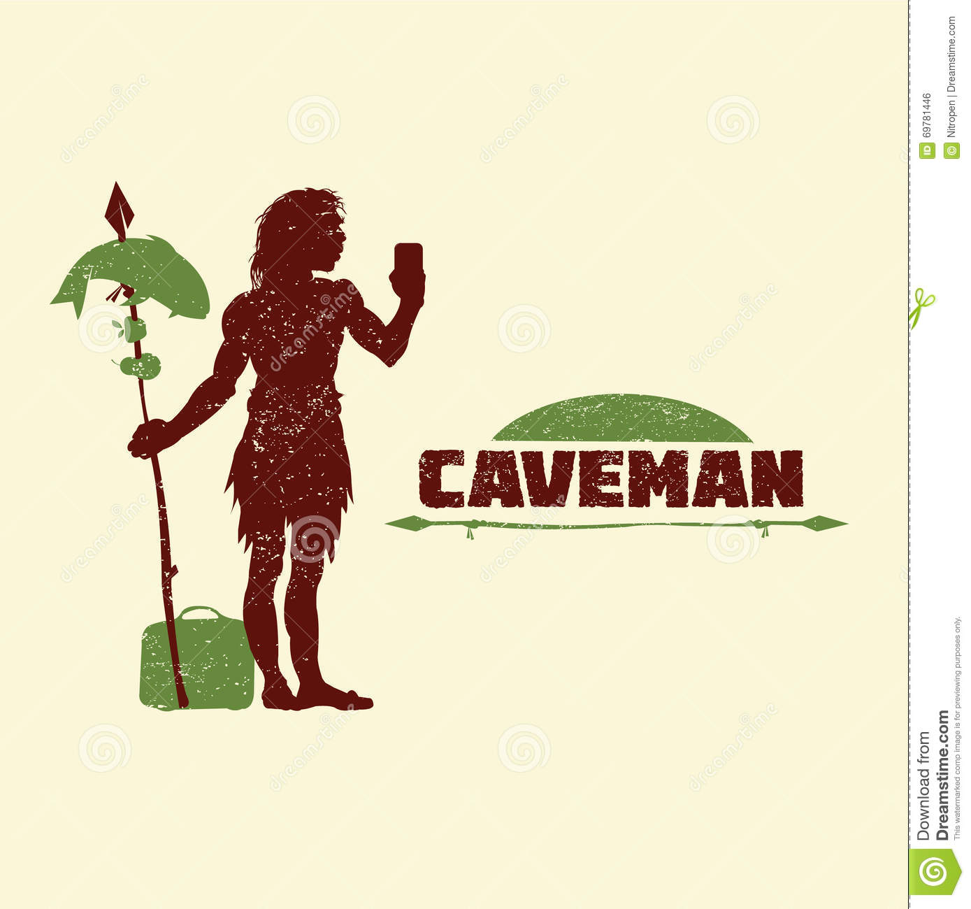 Caveman Phone : Caveman with mobile phone bags and food stock vector