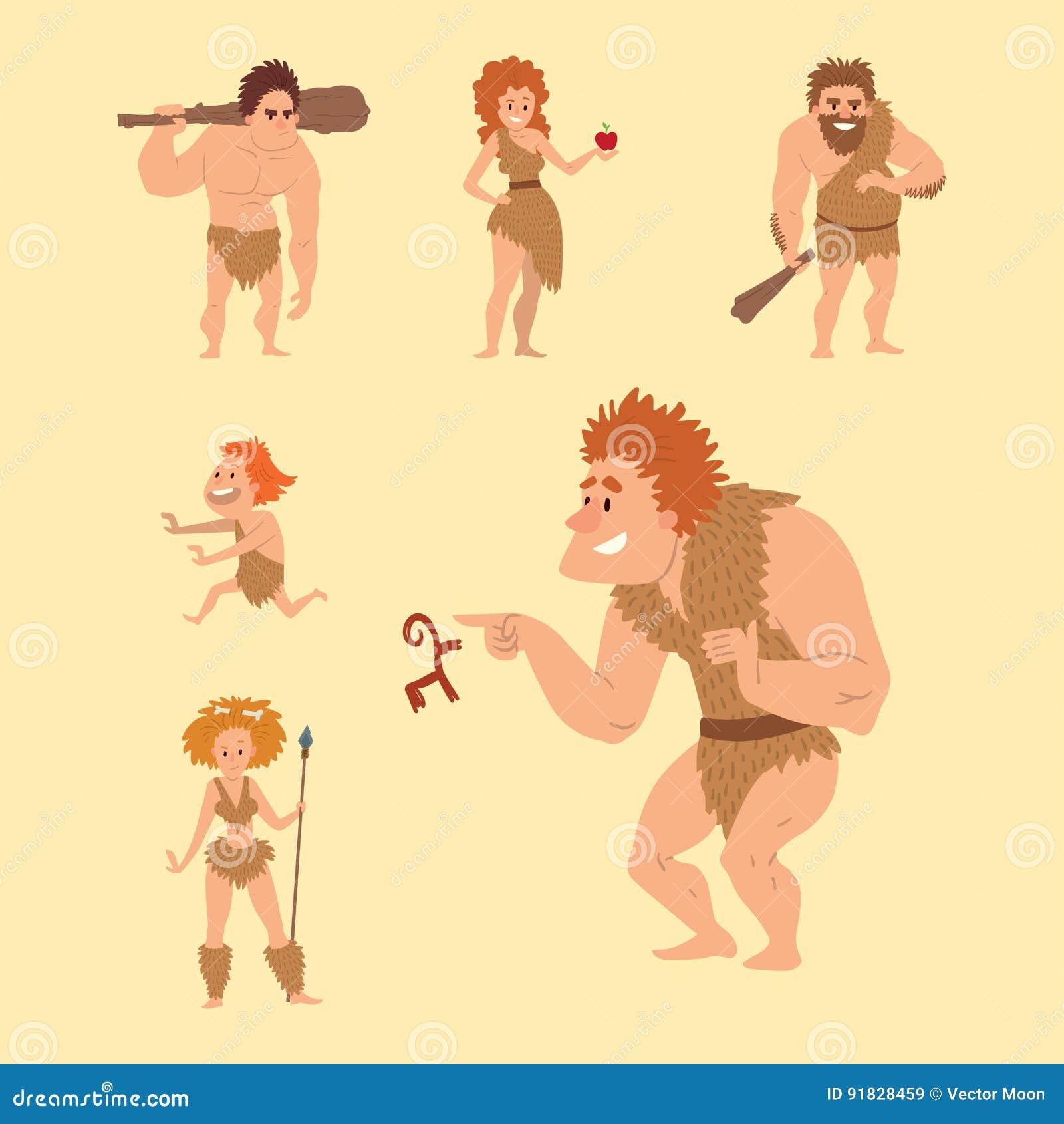 caveman primitive stone age cartoon neanderthal people character