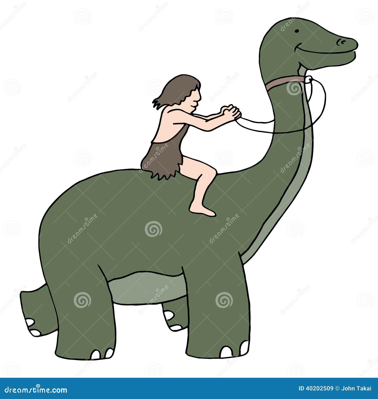 Caveman Riding Dinosaur Stock Vector Image 40202509