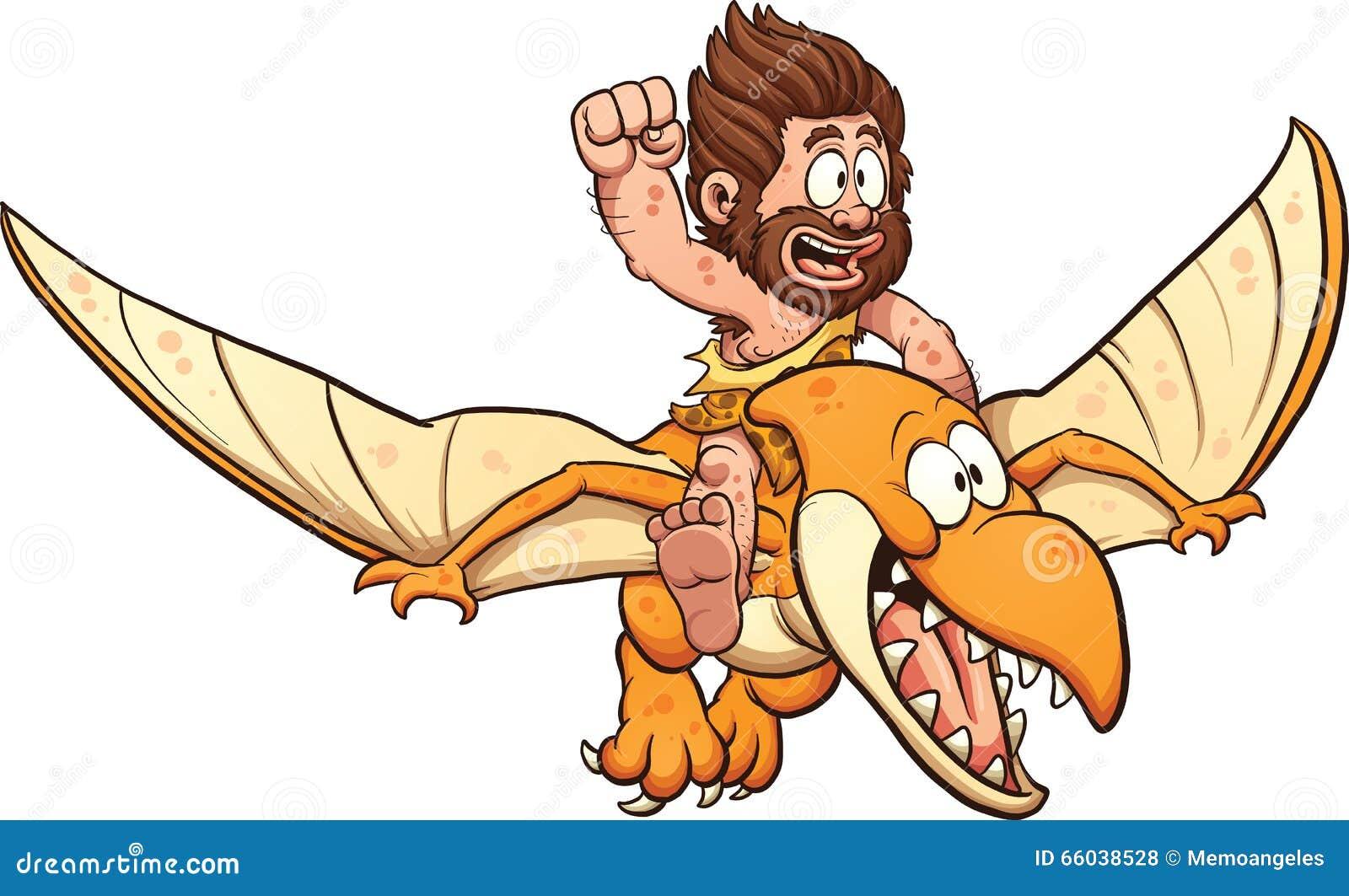 Cartoon caveman riding a pterodactyl. Vector clip art illustration ...