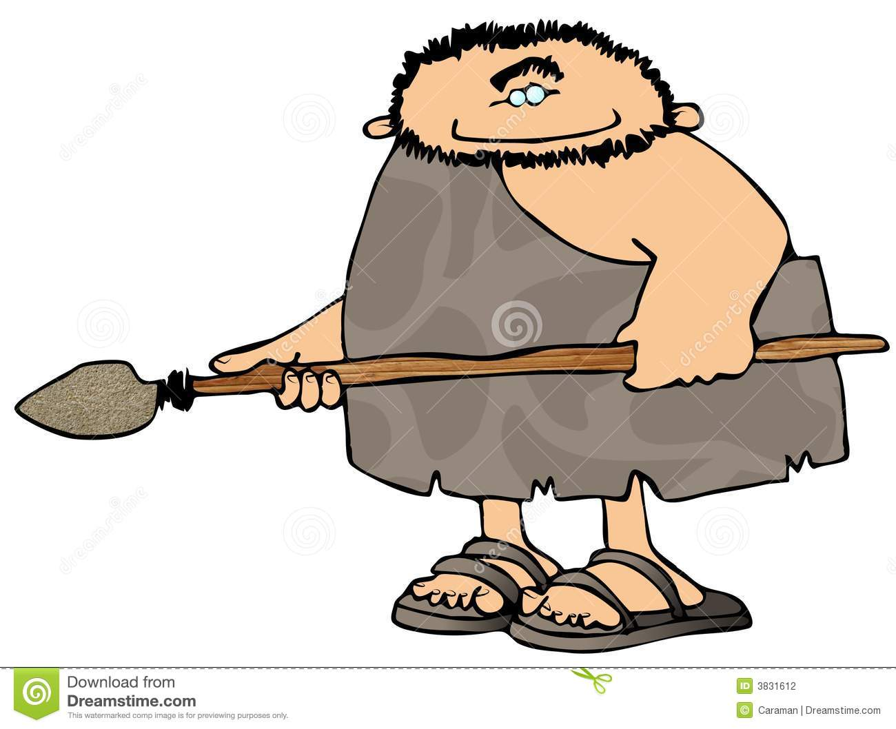 Caveman Unibrow : Caveman with a spear stock illustration of