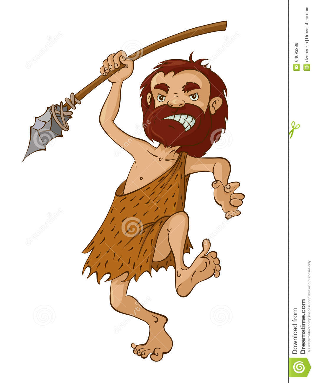 Caveman Spear : Caveman with spear stock vector image of person