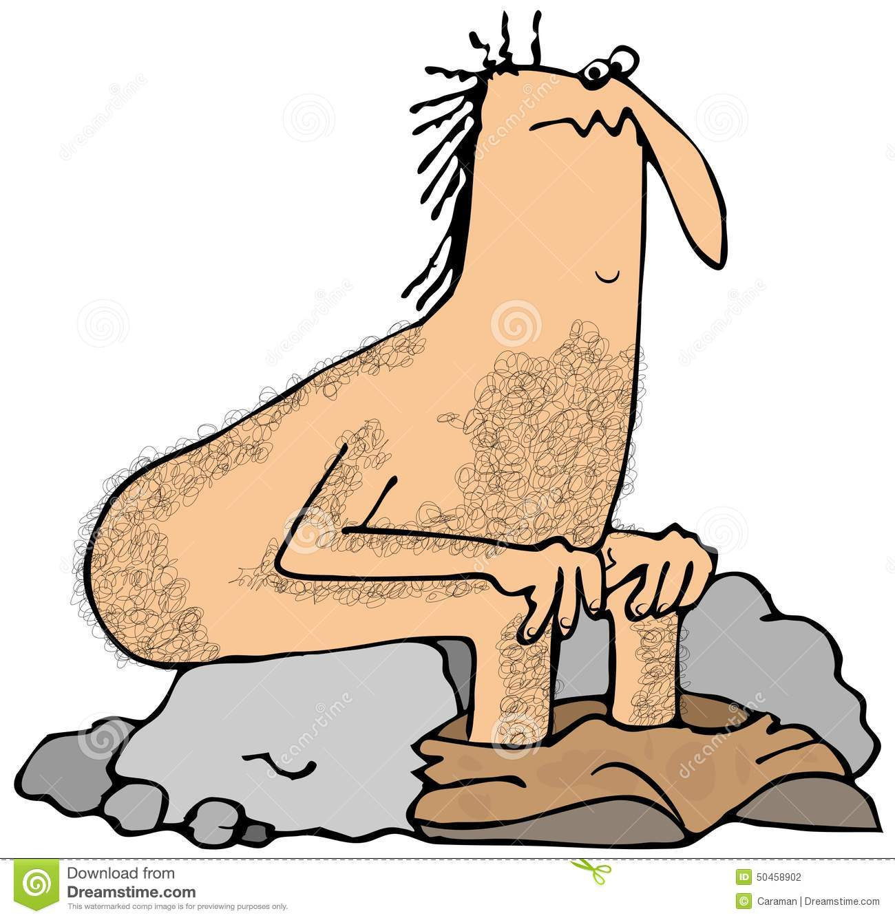 Caveman Rocks : Caveman squat stock illustration image