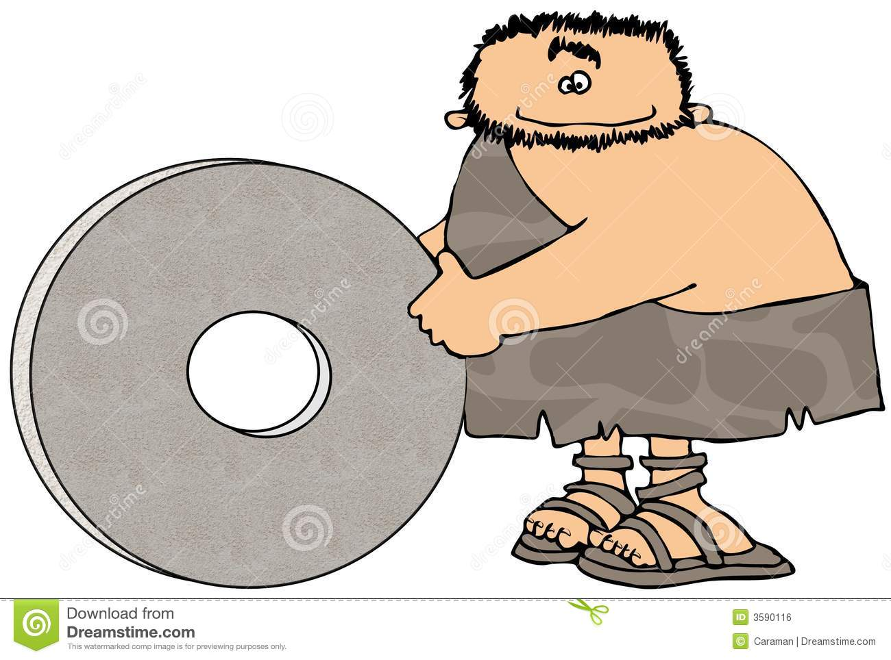 Caveman And The Wheel Royalty Free Stock Image - Image: 3590116