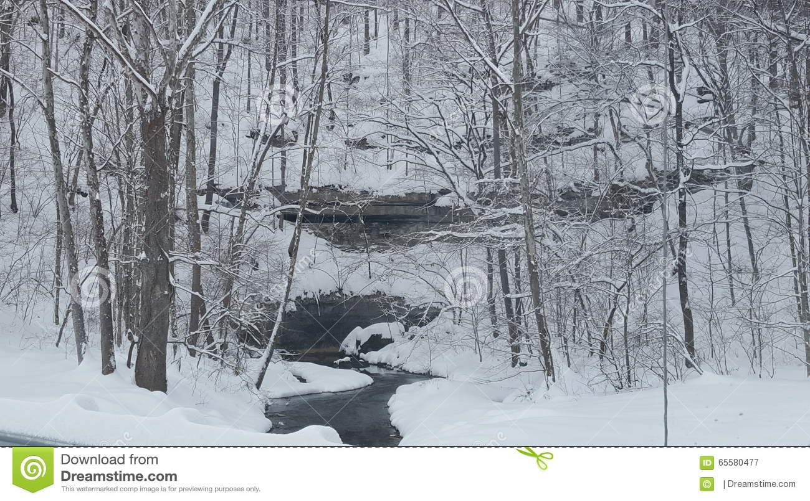 Caverna coberto de neve