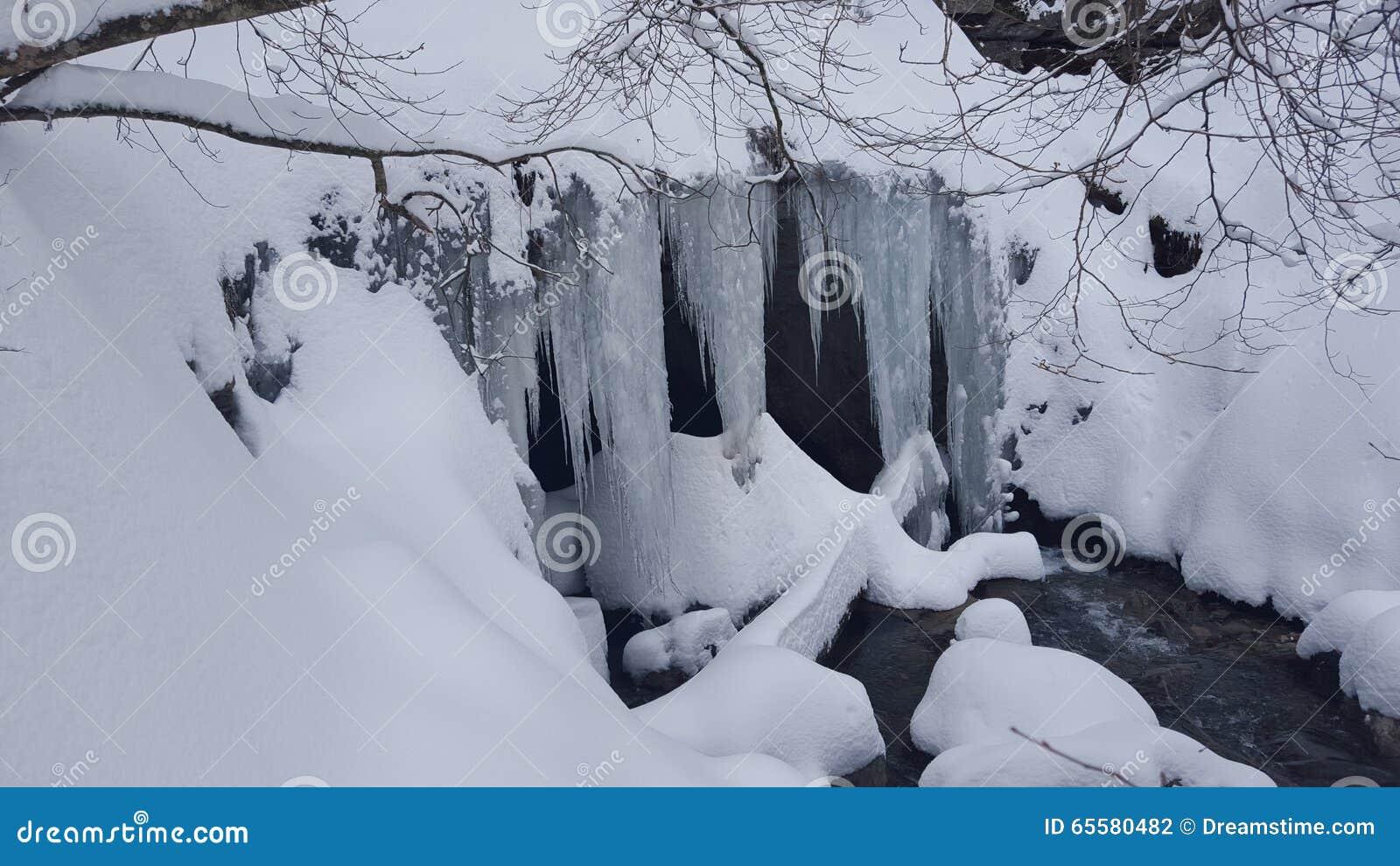 Caverna da tampa da neve e do gelo