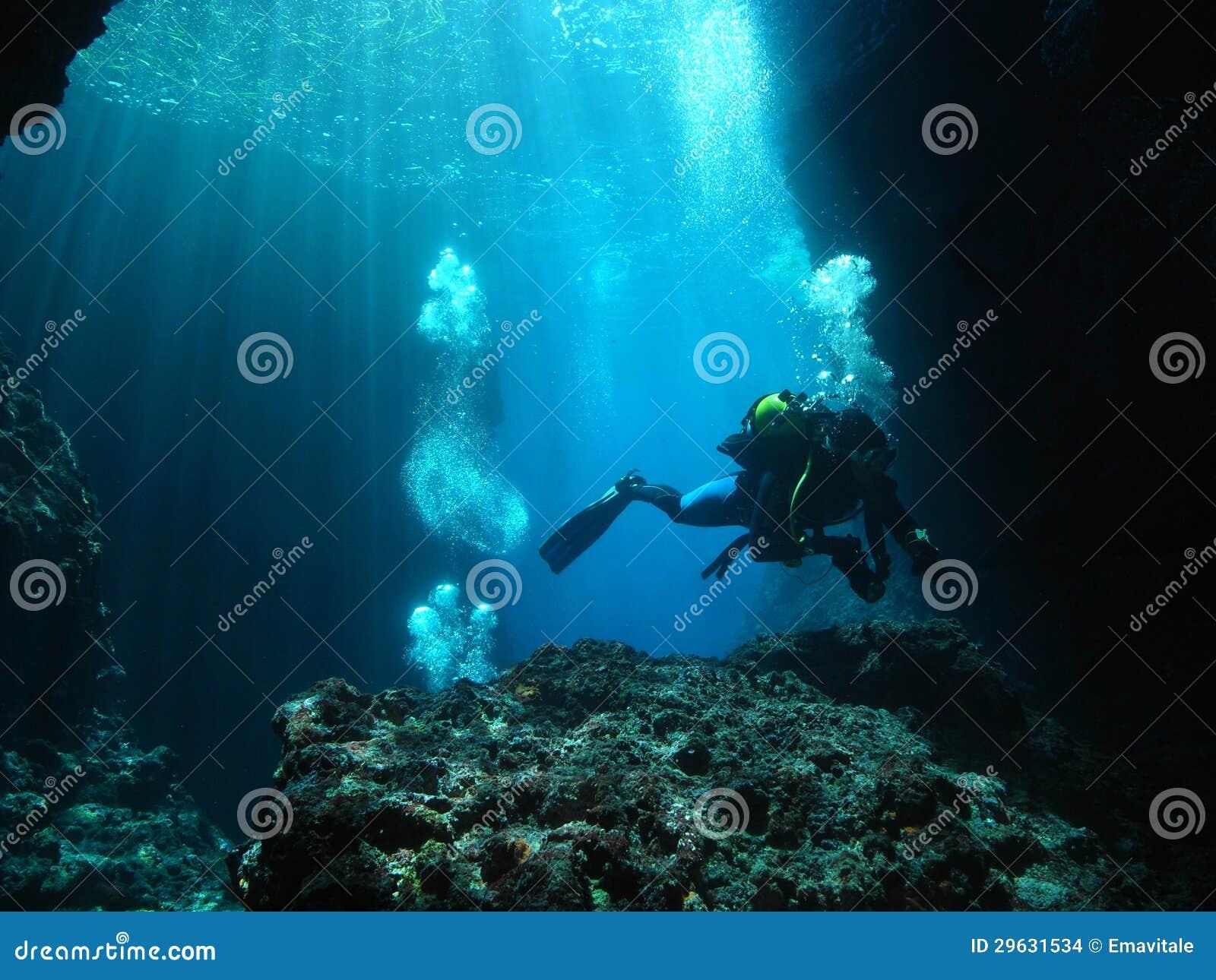 Caverna subaquática do mergulho autónomo do fotógrafo do homem