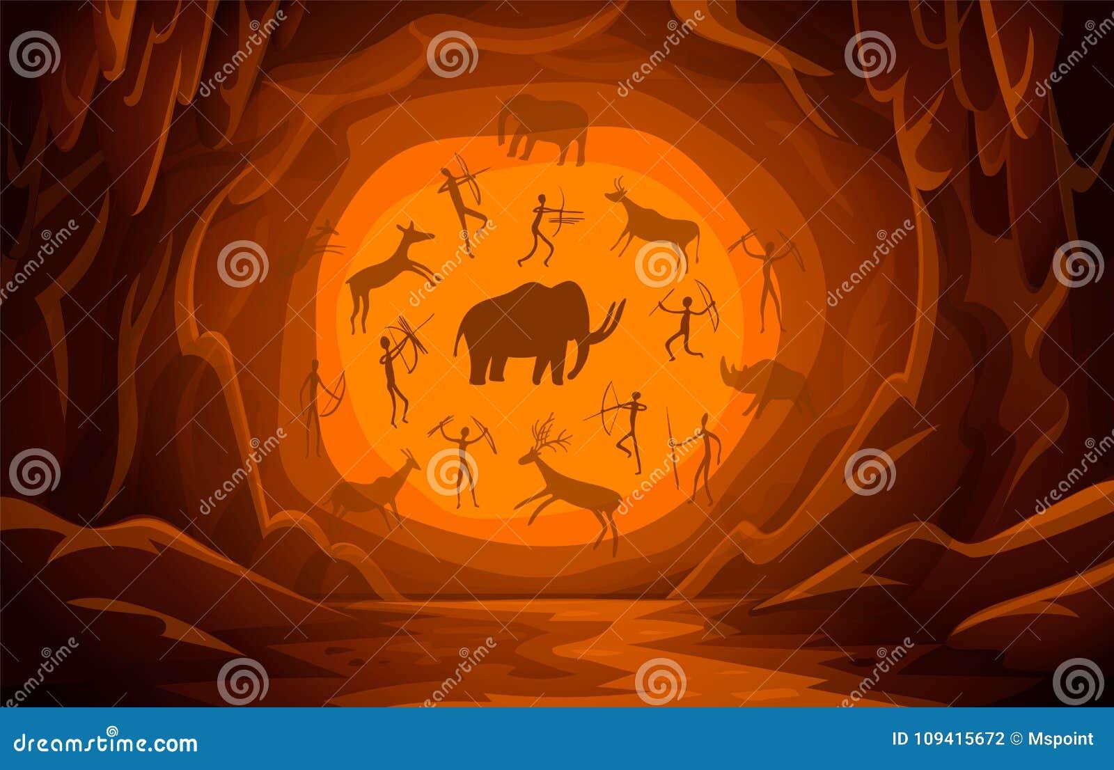 Caverne avec des dessins de caverne Peintures de caverne primitives de fond de scène de montagne de bande dessinée pétroglyphes a