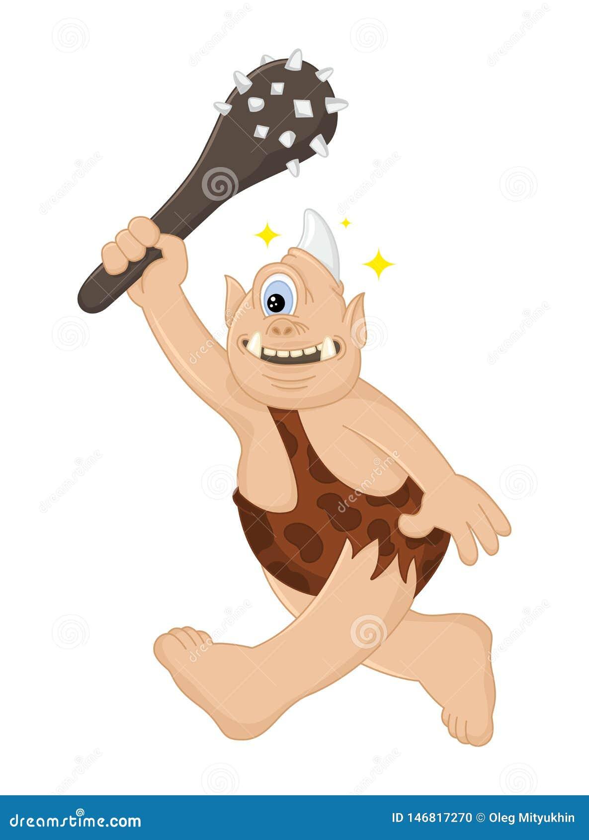 Cavernicolo divertente di ciclope di vettore del fumetto con le cacce di una clava Creatura mitica antica Troll sveglio Progettaz