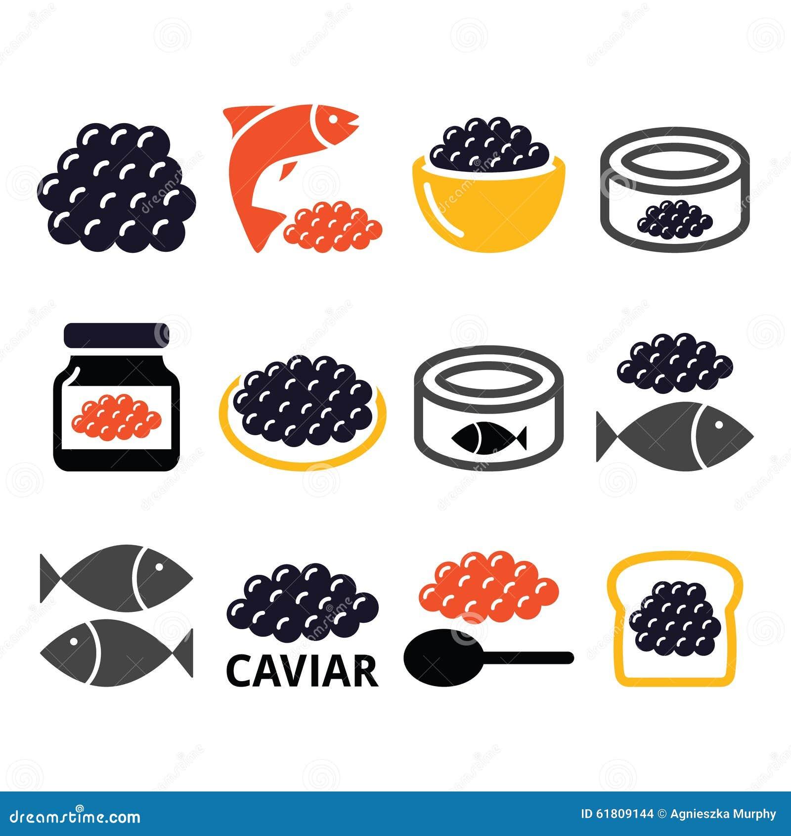 Caviale uova icone delle uova di pesce messe for Uova di pesce rosso