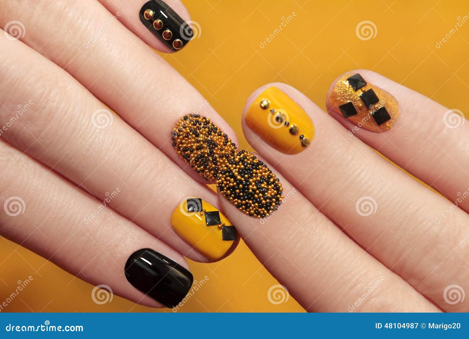 Caviar Manicure Stock Image Image Of Gold Design Nail 48104987