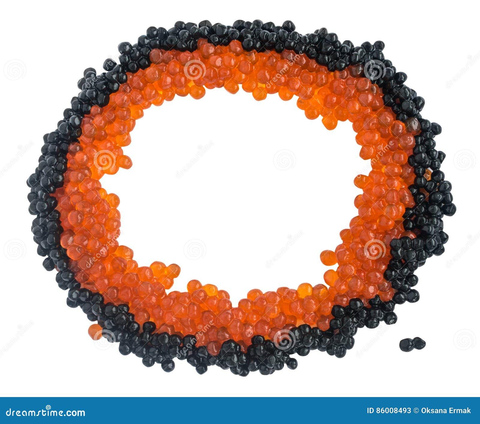 Caviar preto e vermelho isolado no fundo branco