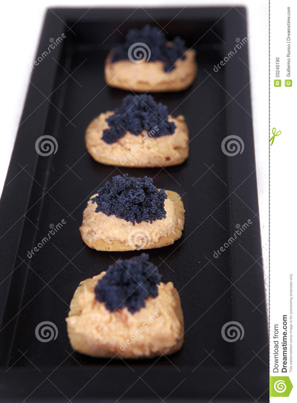 Caviar and salmon canape in tray stock photo image 33240190 for Wooden canape trays