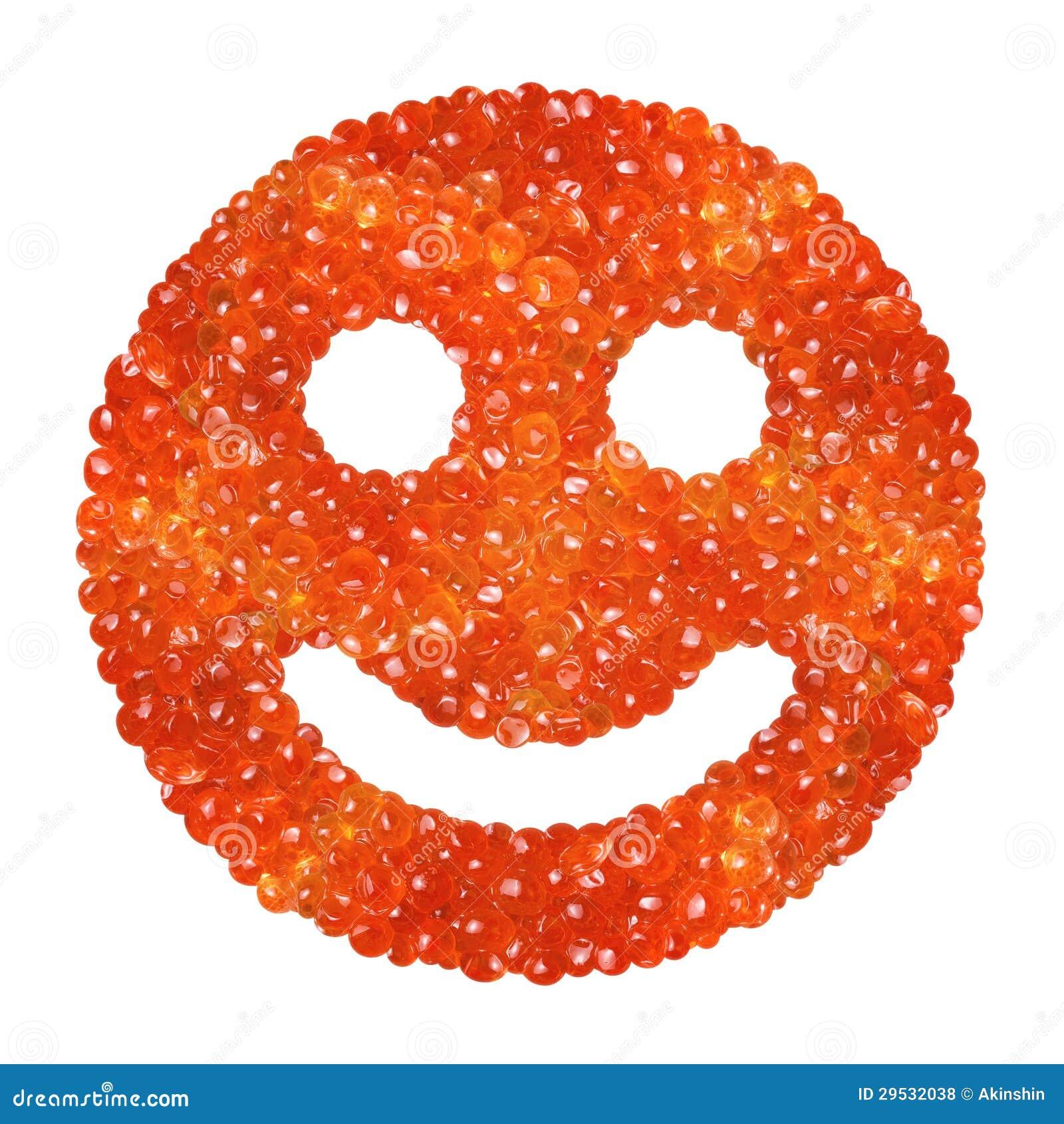 Caviar vermelho sob a forma de um sorriso