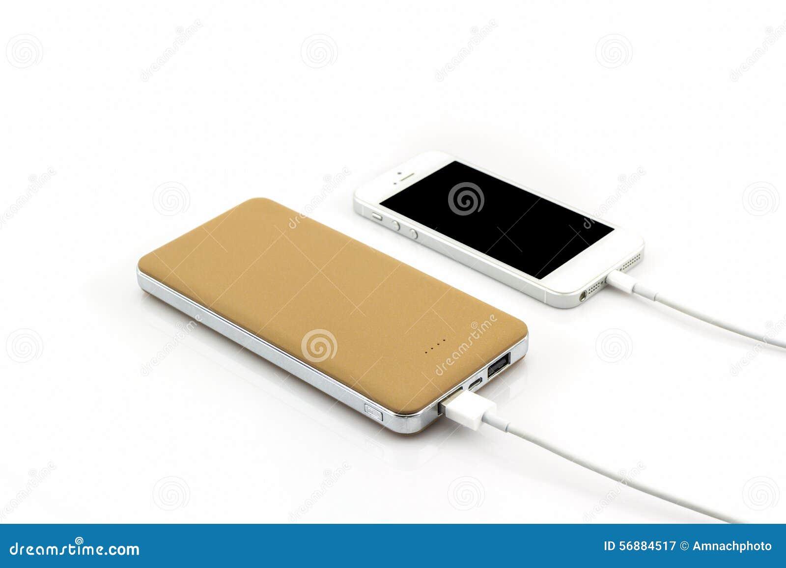 Cavo giallo di USB della banca di potere per lo smartphone