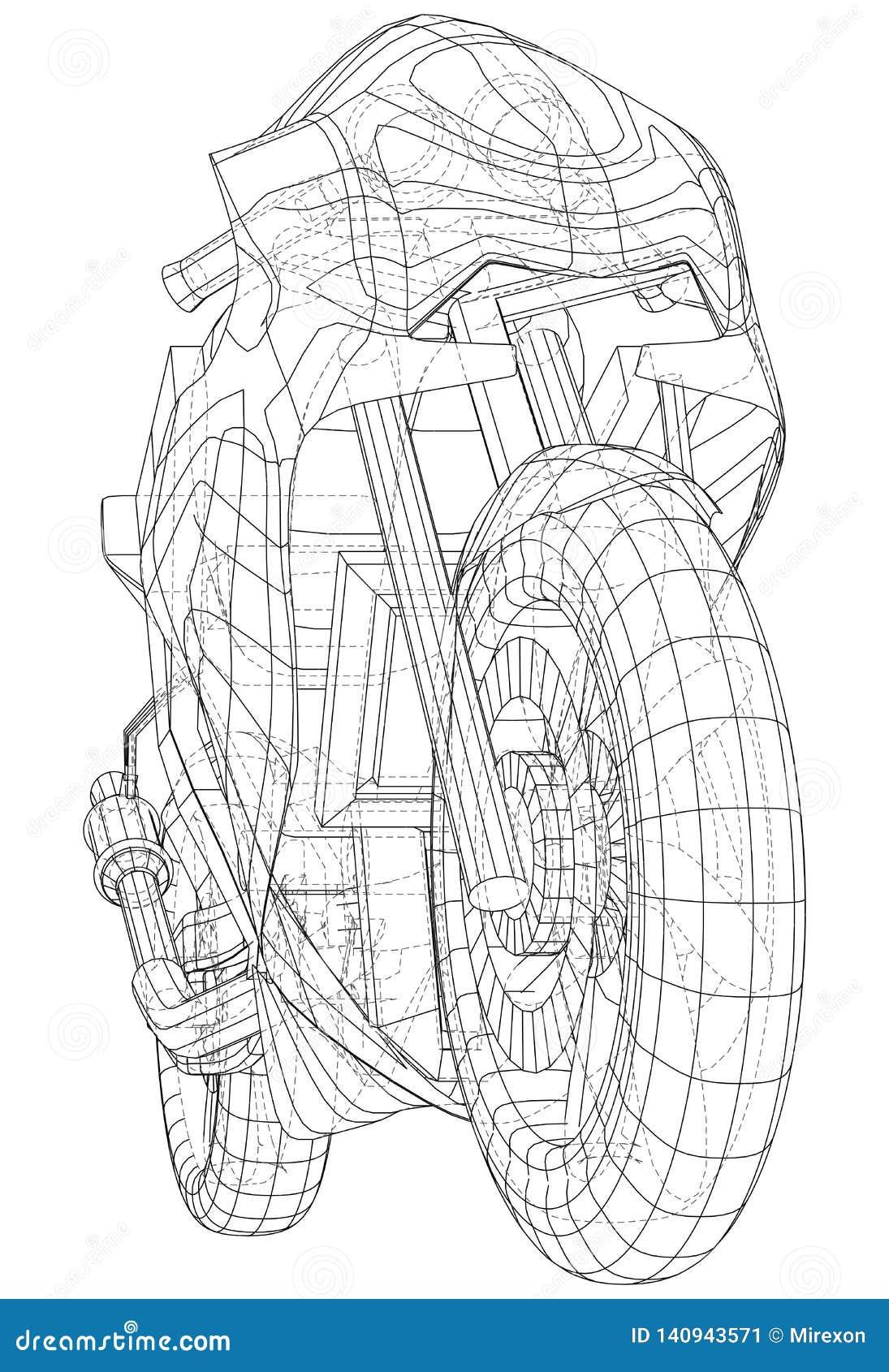 Cavo-struttura tecnica della bici di sport Formato EPS10 Vettore creato di 3d