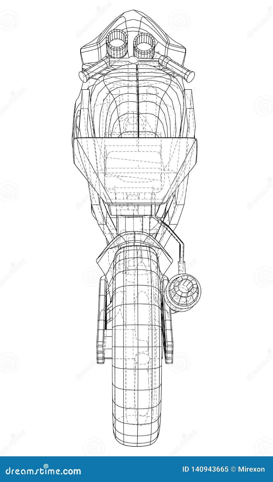 Cavo-struttura tecnica della motocicletta di sport Rappresentazione di vettore di 3d