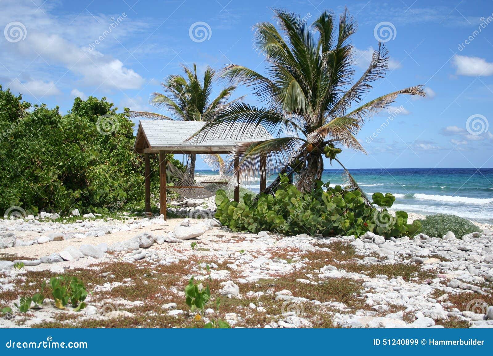 Tropical Island Beach Hut: Cayman Brac Island Hammock Tiki Hut Stock Photo