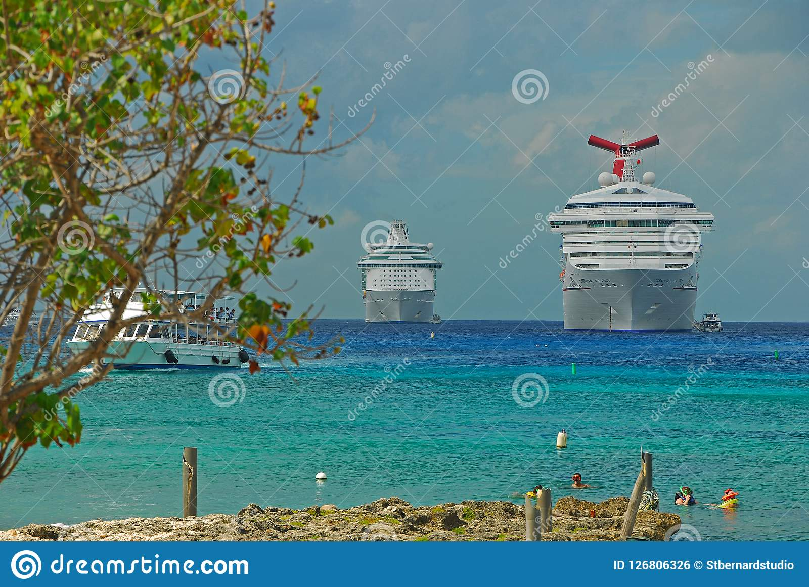 Large Cruise Ships Docking At George Town, Cayman Islands