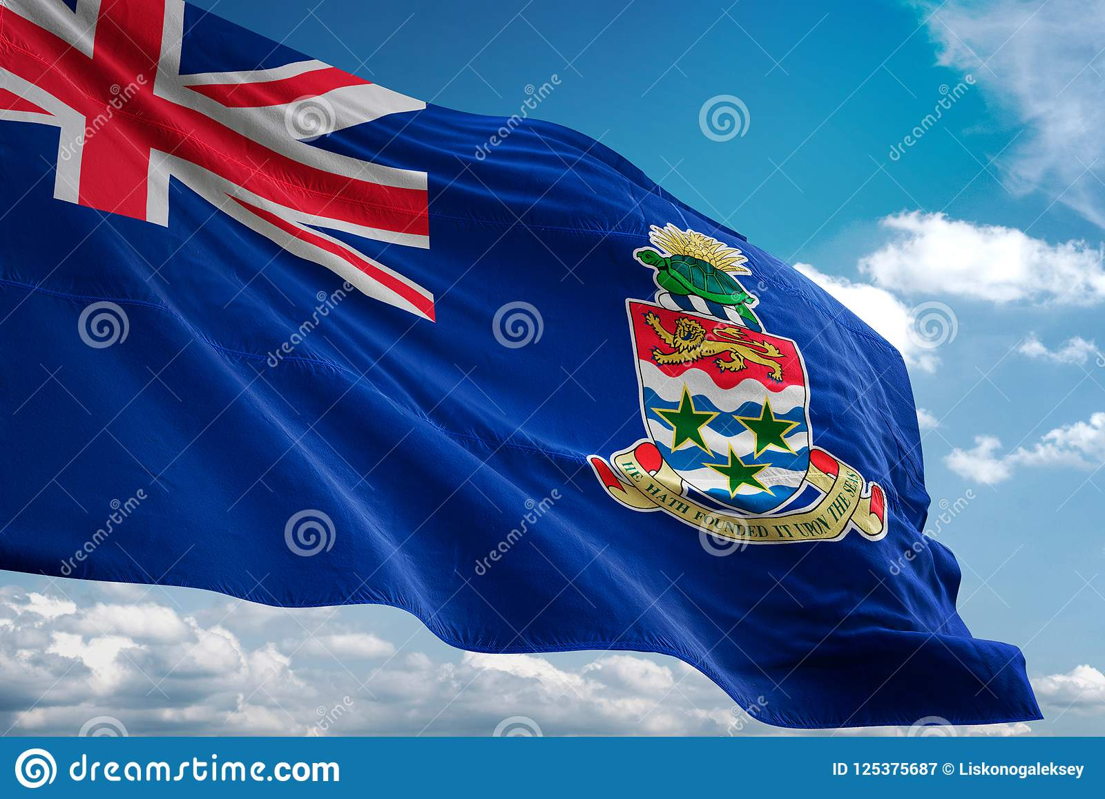 Cayman Islands National Flag Waving Blue Sky Background
