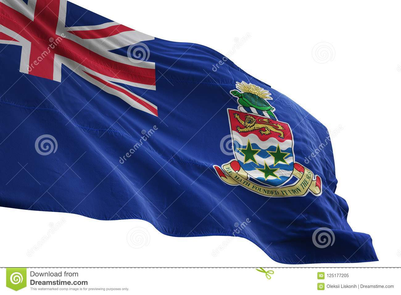 Cayman Islands National Flag Waving Isolated On White Background 3d