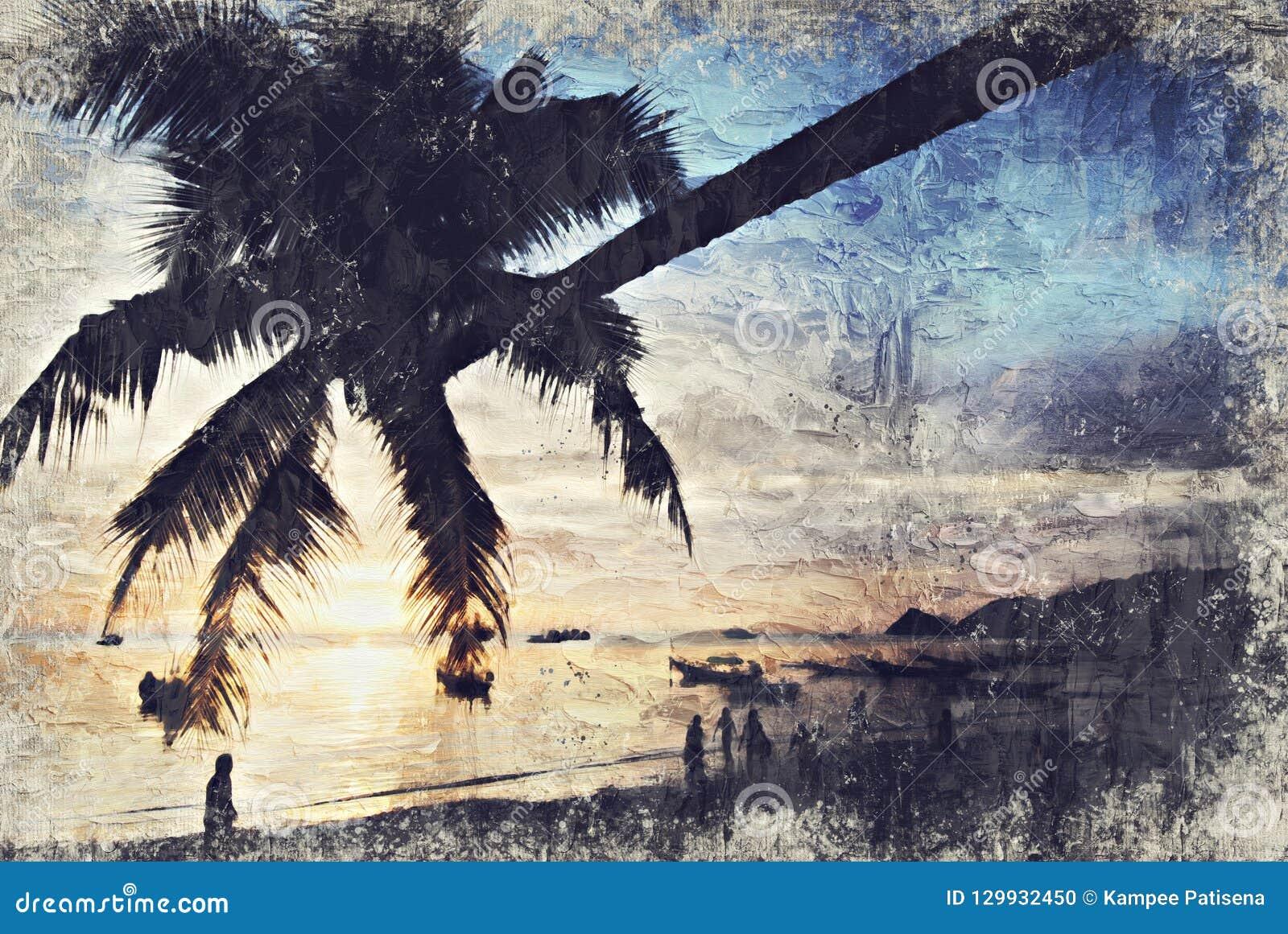 Cayo Guillermo Koh Tao Sunset Digitaal Art Impasto Oil Painting B