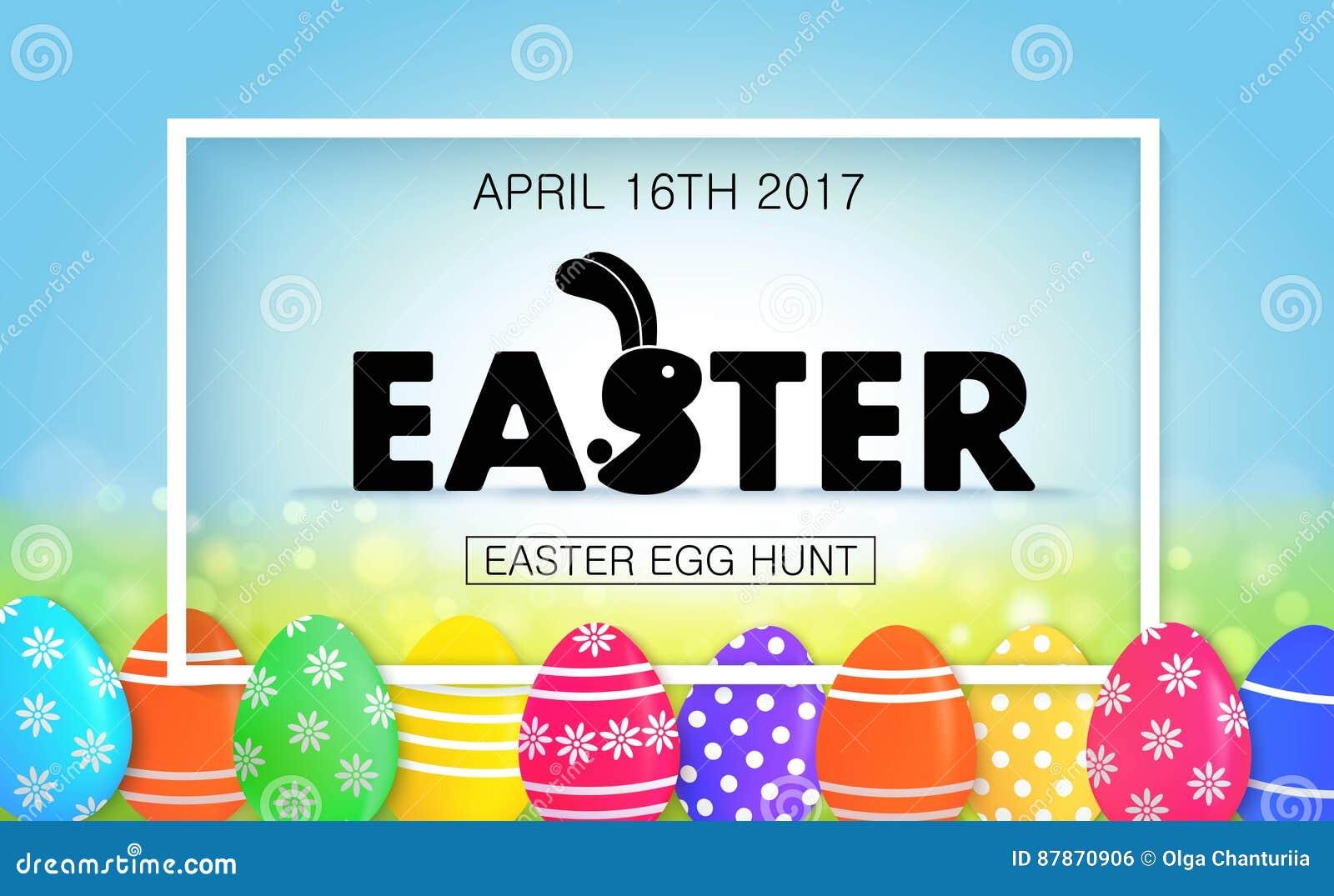 Caza del huevo de Pascua Bandera del día de fiesta con los huevos