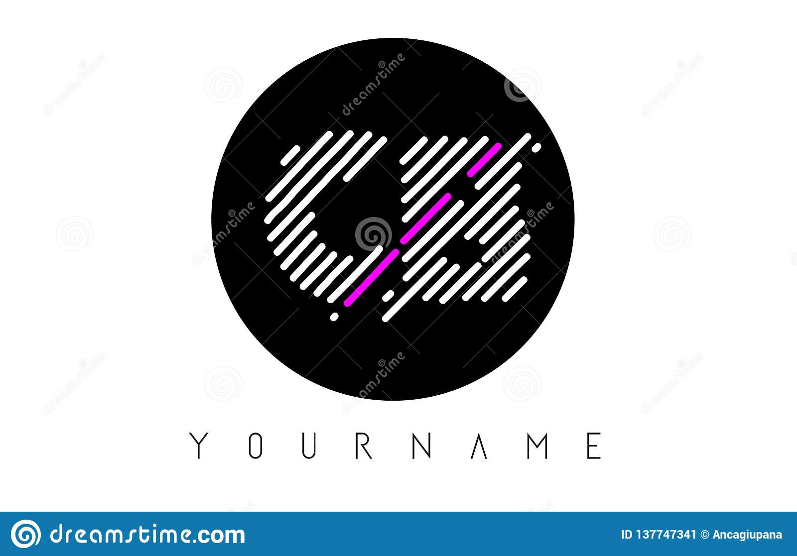 CB Letter Logo Design With White Lines And Black Circle