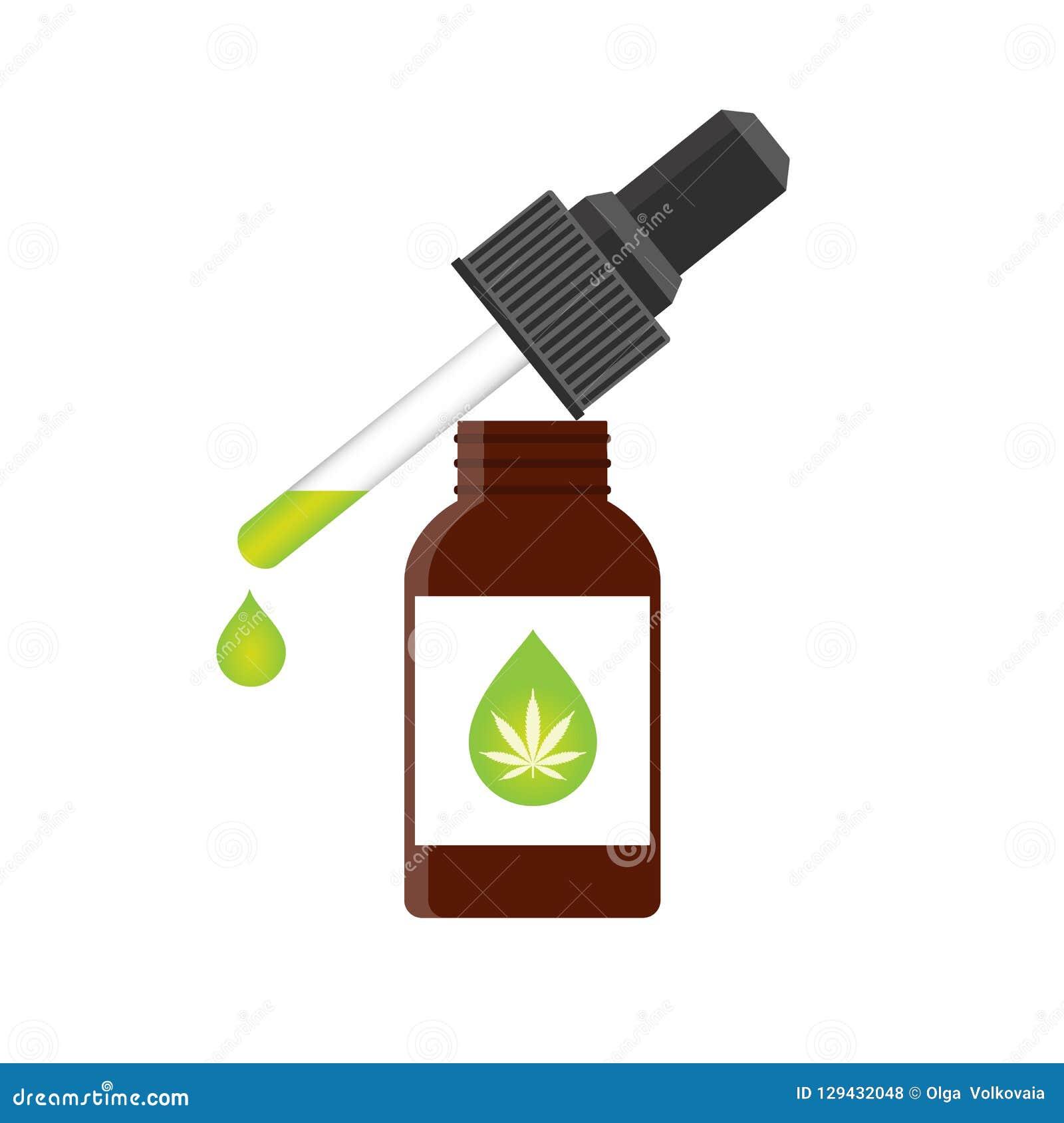 CBD oil hemp products stock vector  Illustration of cancer