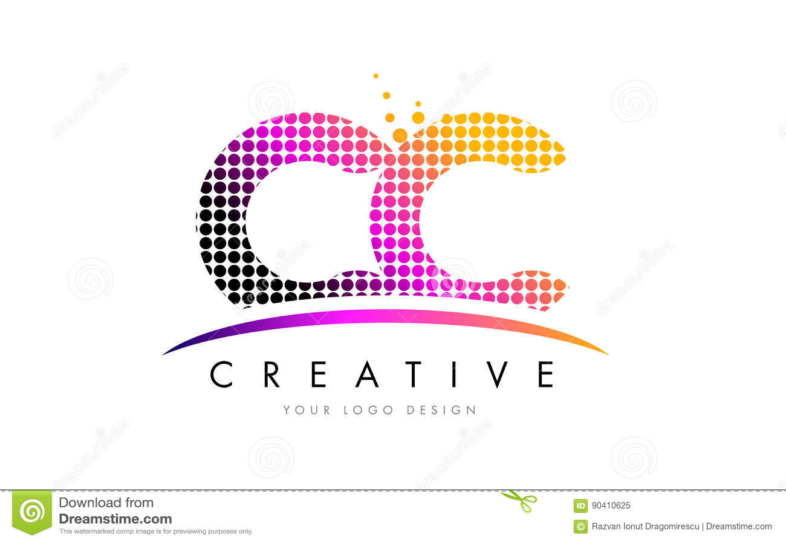 Cc c c letter logo design with magenta dots and swoosh stock vector download cc c c letter logo design with magenta dots and swoosh stock vector illustration of altavistaventures Images