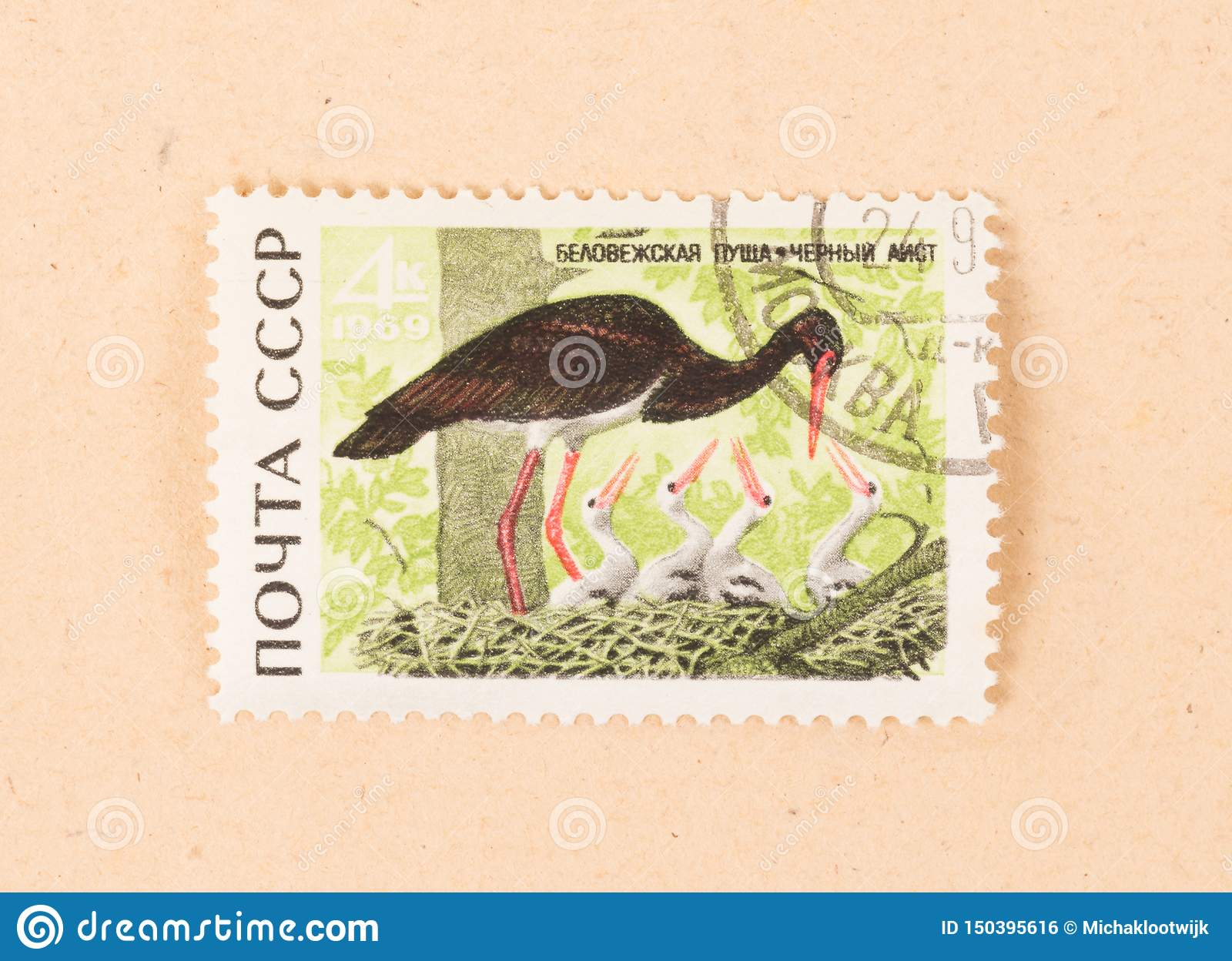 A stamp printed in the CCCP shows a black stork, circa 1970