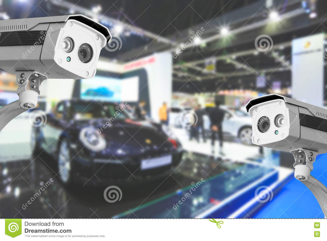 CCTV camera of commercial cars in show room.