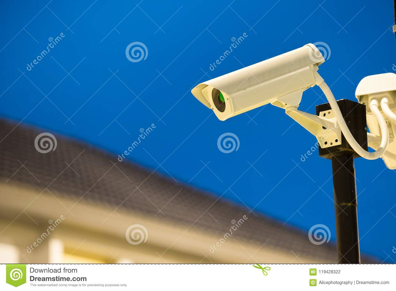 CCTV Camera In Home Village Stock Photo - Image of studio