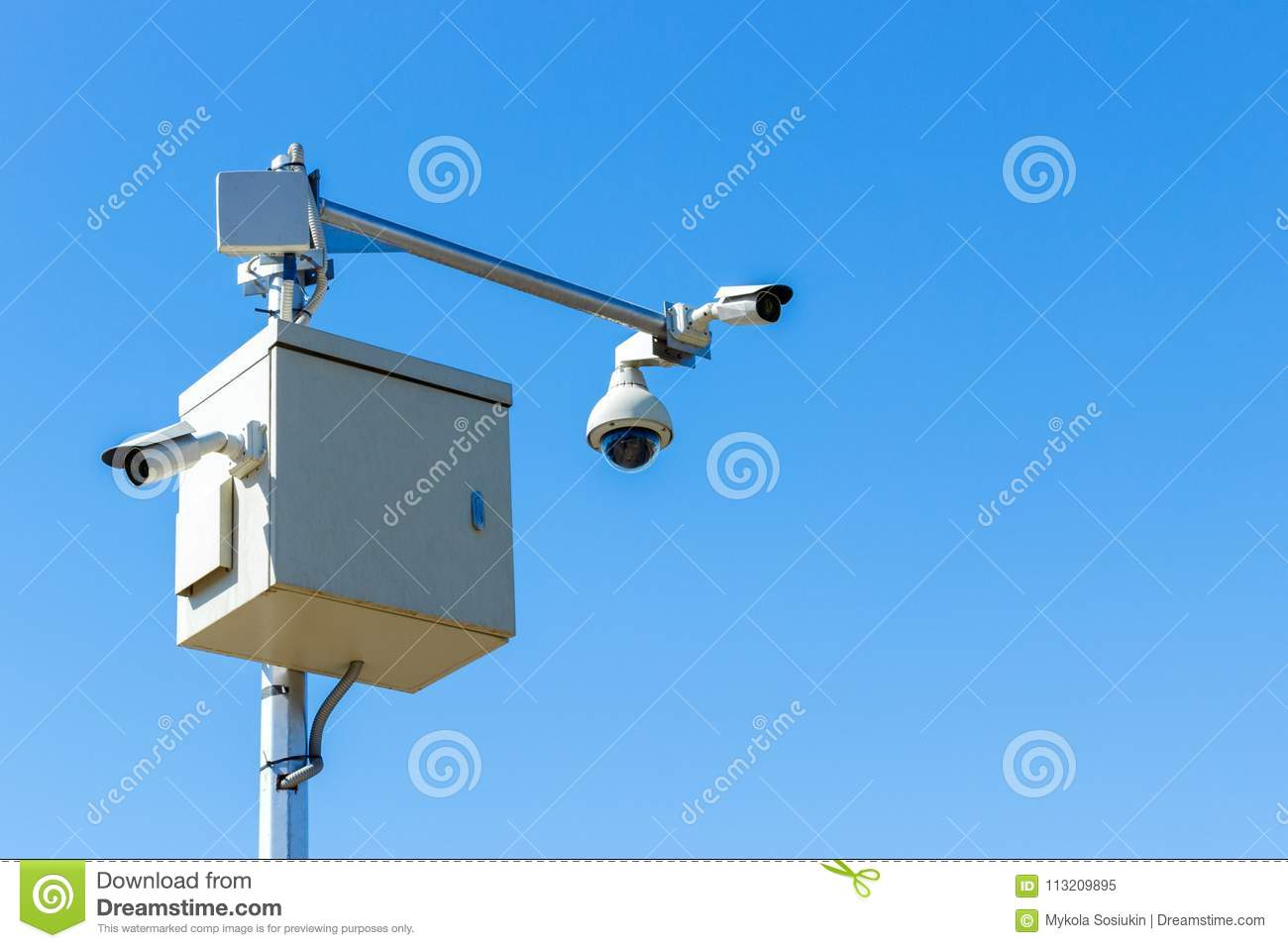 Cctv camera on sky background Infrared camera and zoom tracking system