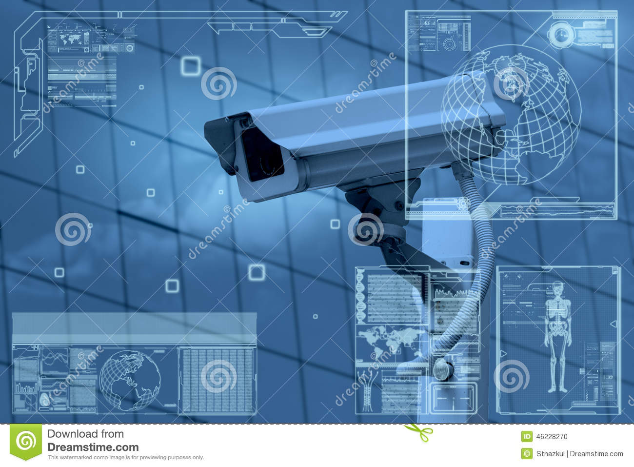 Cctv Camera Technology On Screen Display Stock Photo