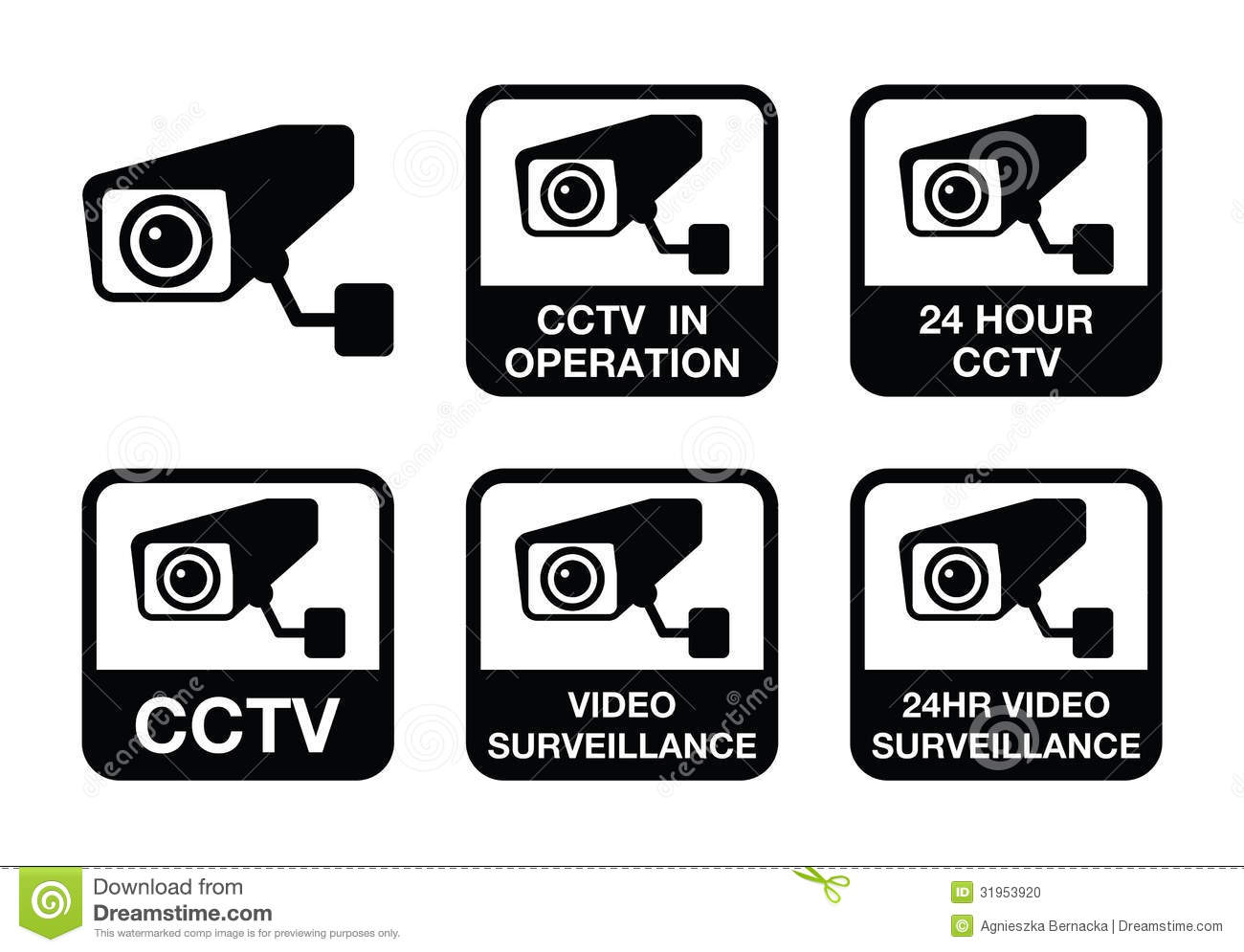 CCTV Camera, Video Surveillance Icons Set Stock Photo - Image ...