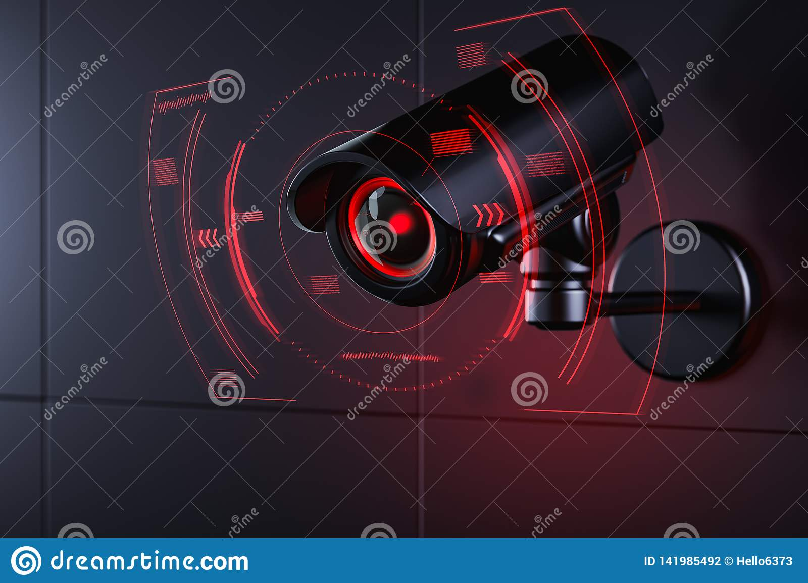 Cctv is checking information about citizen in surveillance security system, social credit system concept. 3D rendering