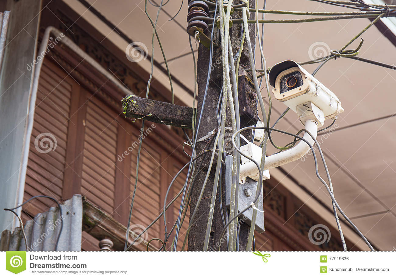 Cctv On The Electricity Pole Stock Photo Of Observe Look. Cctv On The Electricity Pole. Wiring. This Old House Electrical Wiring At Scoala.co