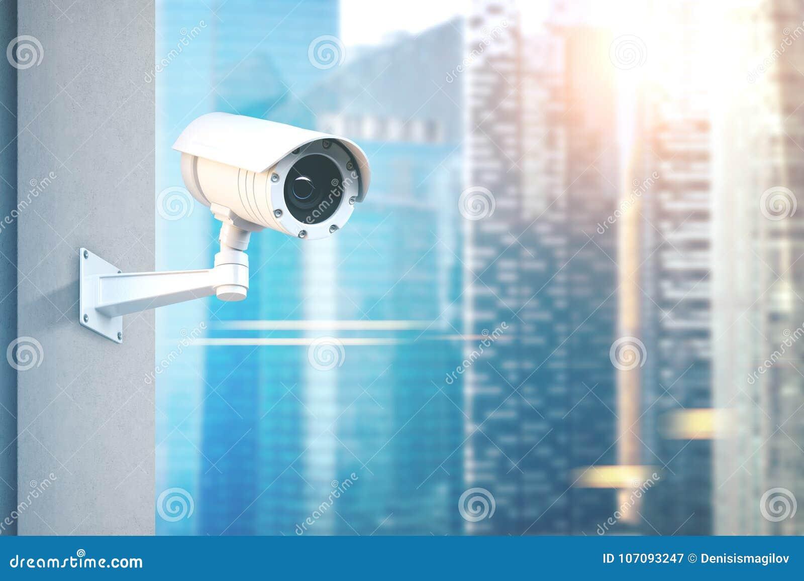 Cctv-kamera, suddig stad