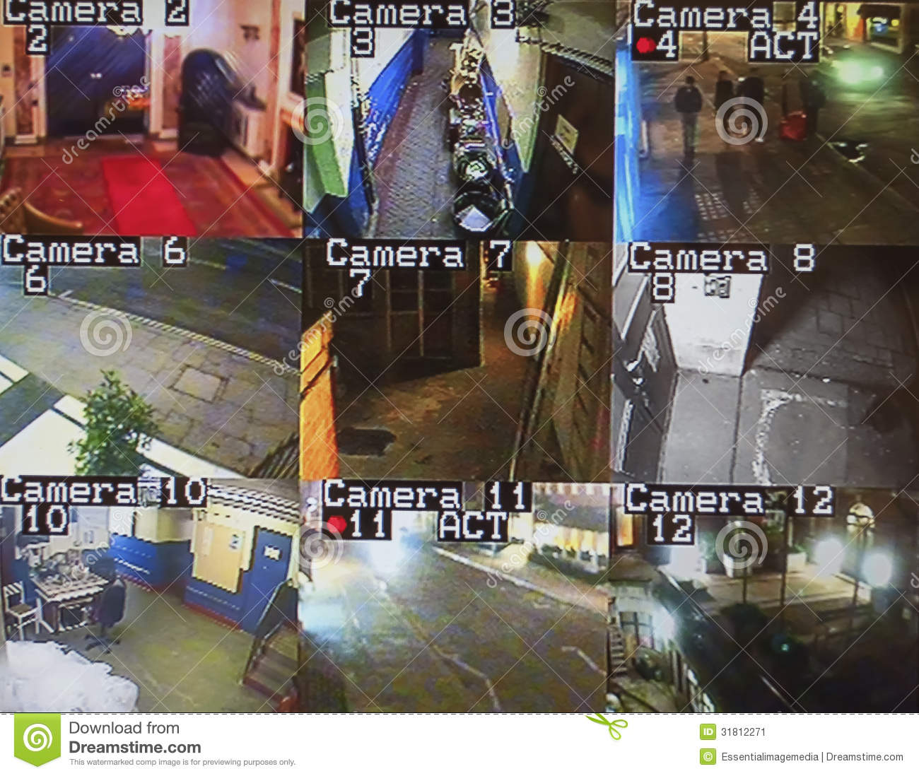Cctv Monitor Screen Stock Image Image 31812271