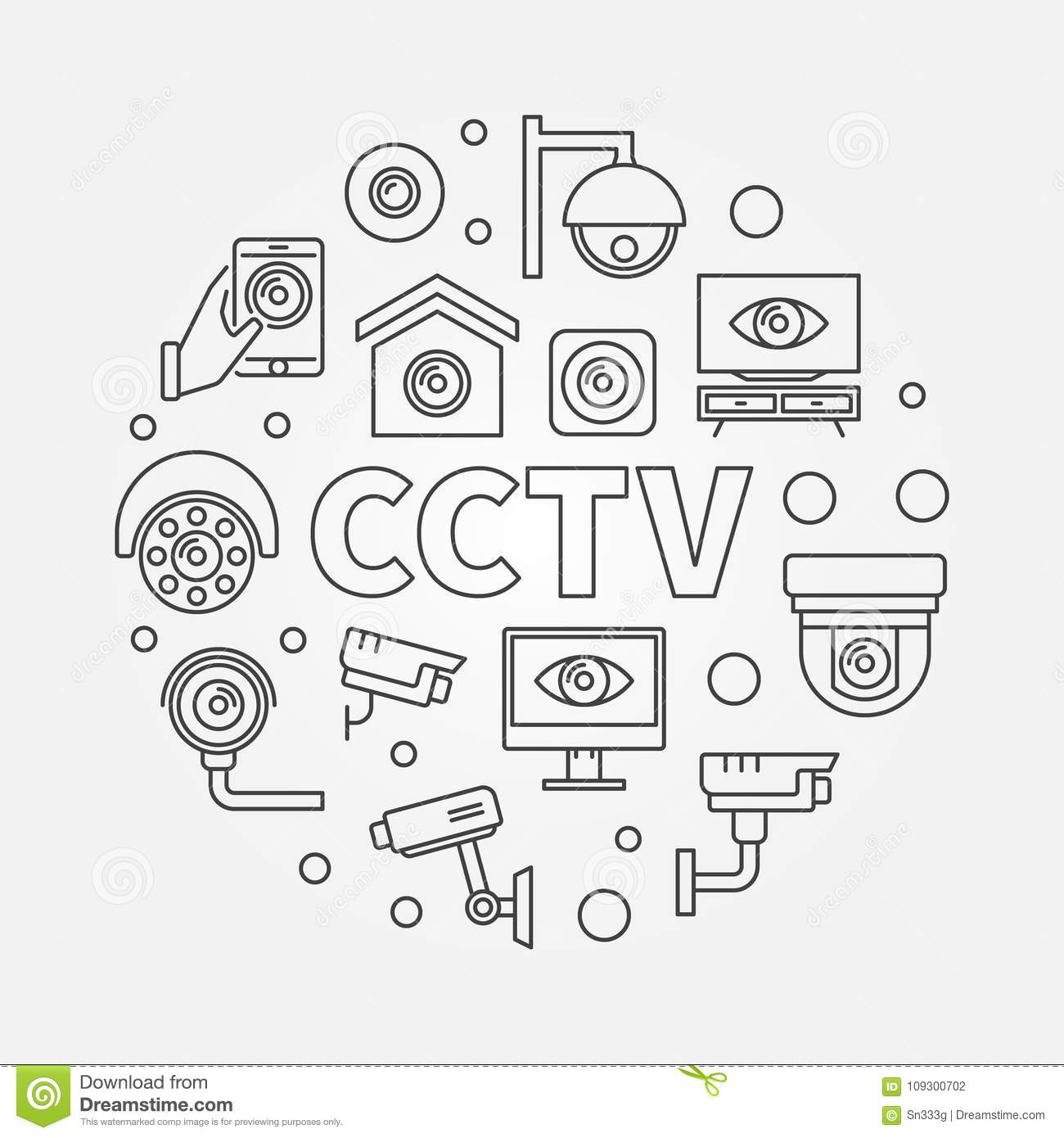 Circle Closed Circuit Worksheet And Wiring Diagram Short A Is In Cctv Round Illustration Vector Modern Line Symbol Stock Rh Dreamstime Com