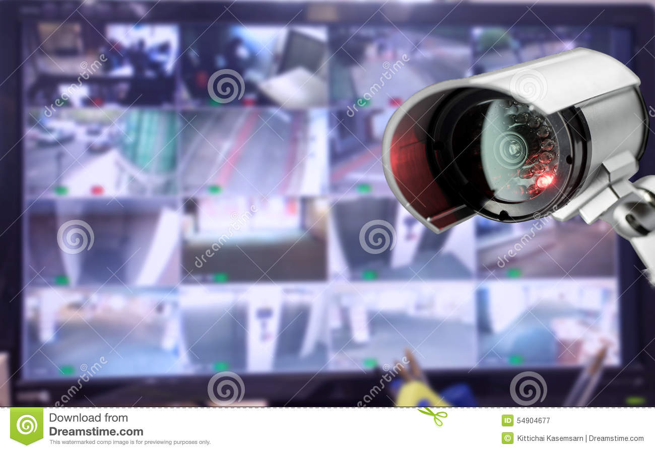 CCTV security camera monitor in office building