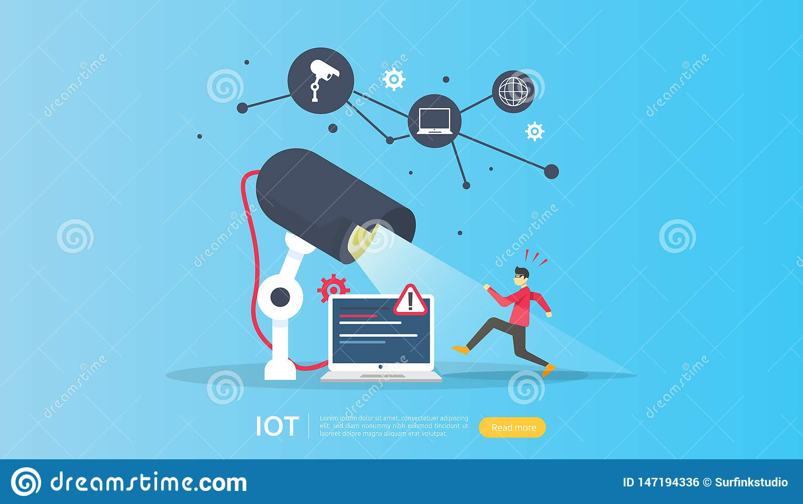CCTV security camera monitoring. thief shocked detected. IOT internet of things smart house concept for industrial 4.0. web