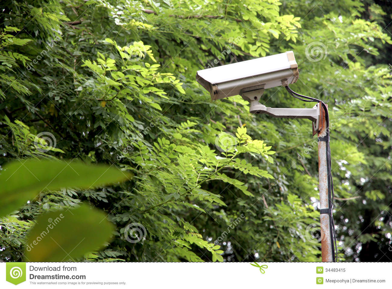 Cctv Security Camera In The Park Royalty Free Stock Photo